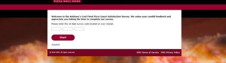 Anthony's Coal Fired Pizza Survey