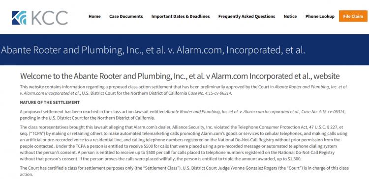 alarmtcpaclassaction settlement claim logo