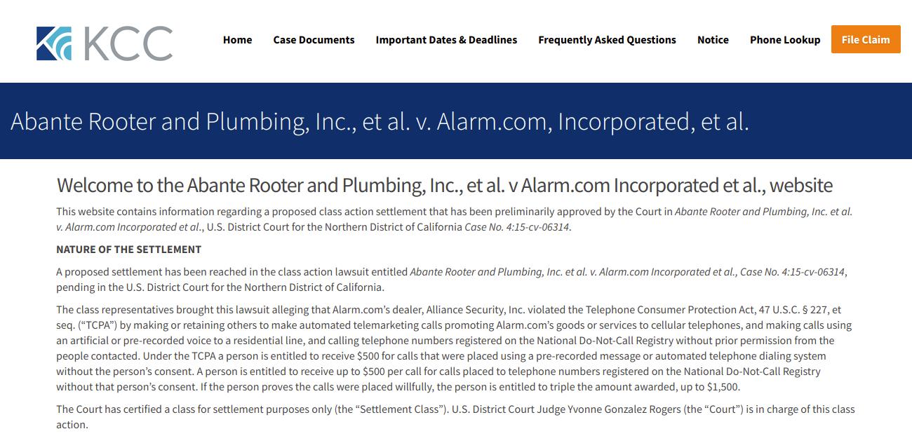alarmtcpaclassaction settlement claim