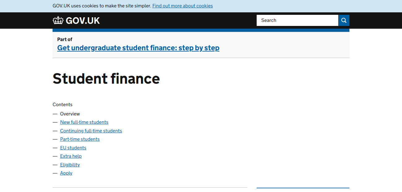 direct gov student finance