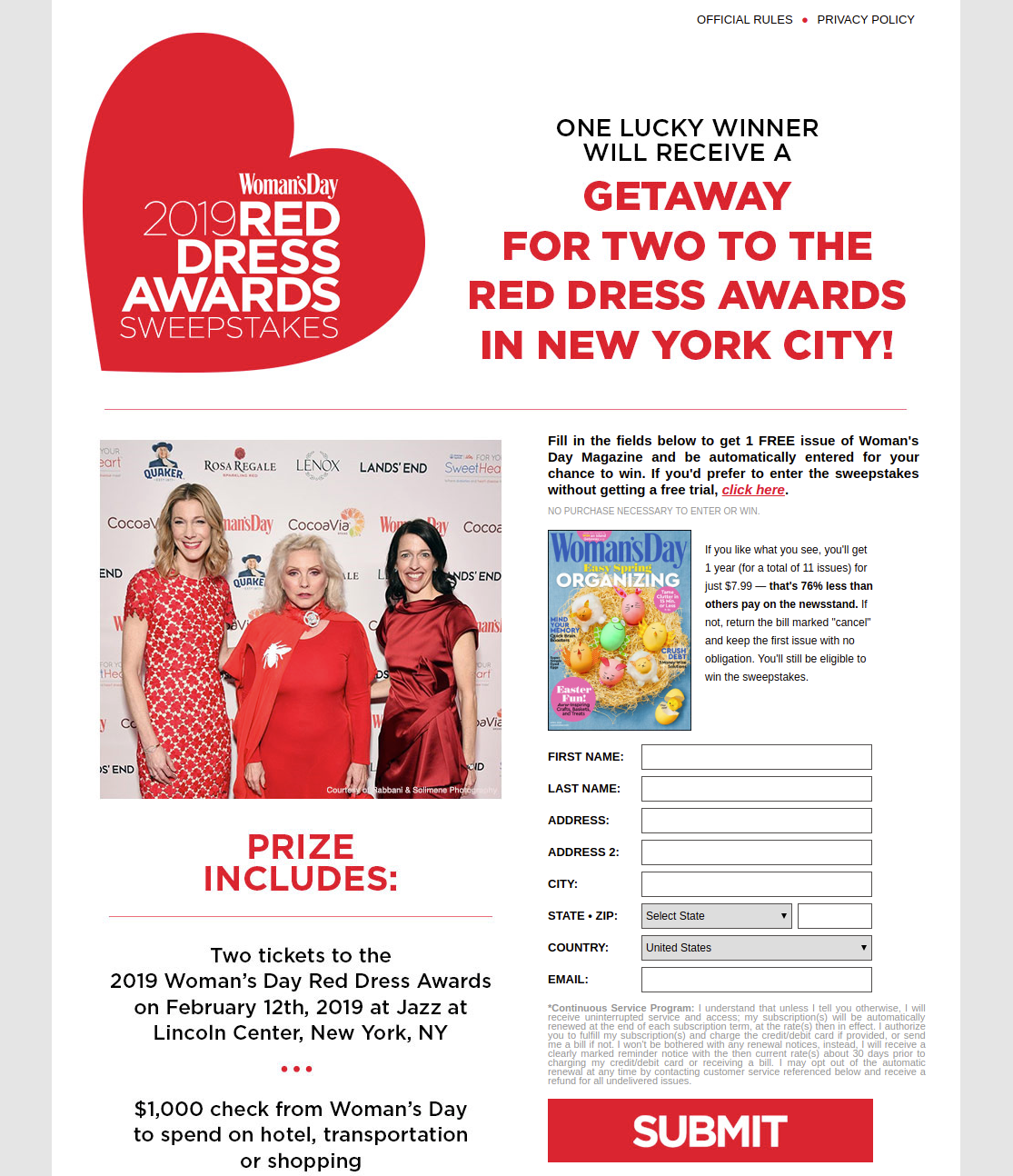 red dress sweeps womens day