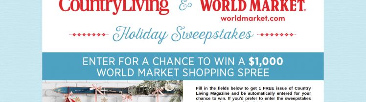 world market country living sweepstakes